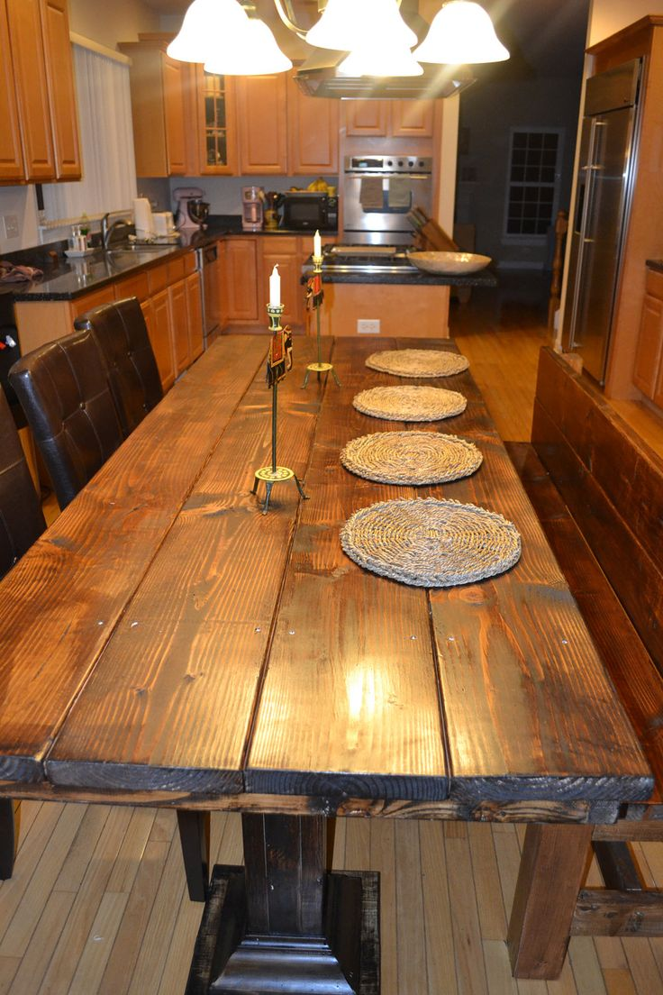 rustic wood tables rustic kitchen tables handmade rustic wood dining table set 00 via Etsy