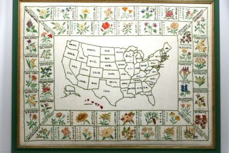 large framed hand embroidered map of the united states
