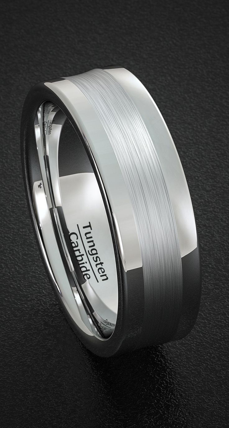 men wedding bands mens batman wedding bands Men s Wedding Band Tungsten Ring Polished with Brushed Inlay Round Edge Comfort Fit
