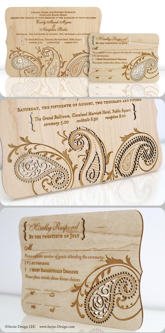 wood invitation wood wedding invitations Paisley wood invitation intricately laser cut into reclaimed 1 16 wood planks Great