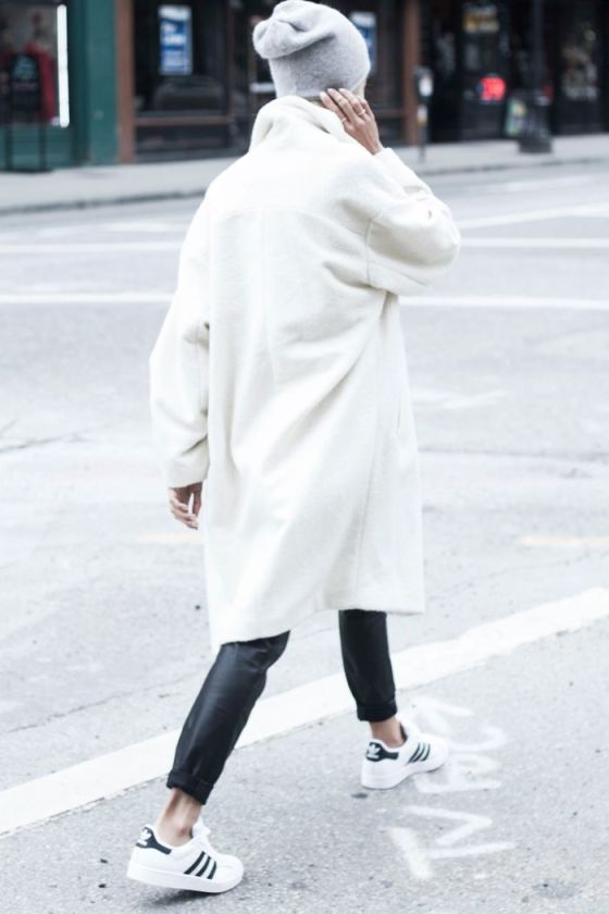 Adidas superstar / white coat / leather trousers / Adidas sneakers / THP