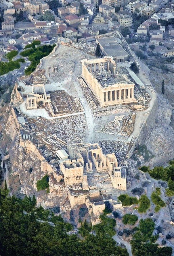 Aerial view of Acropolis of Athens: