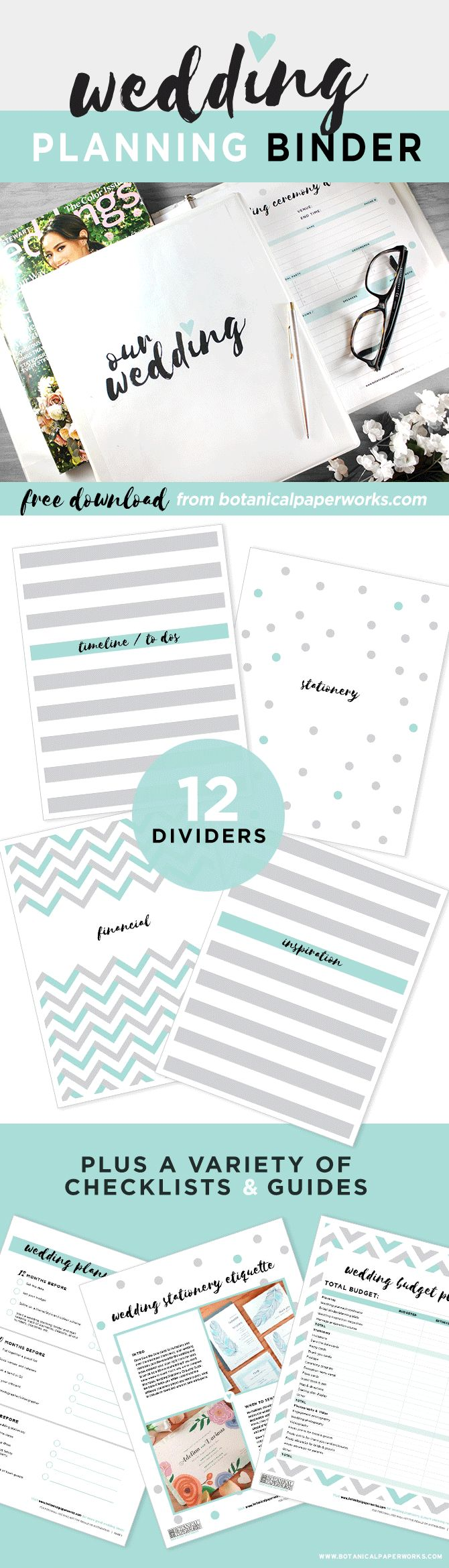 wedding planner binder wedding planner binder This FreePrintable Wedding Planning Binder comes in 3 color options and is filled with planning