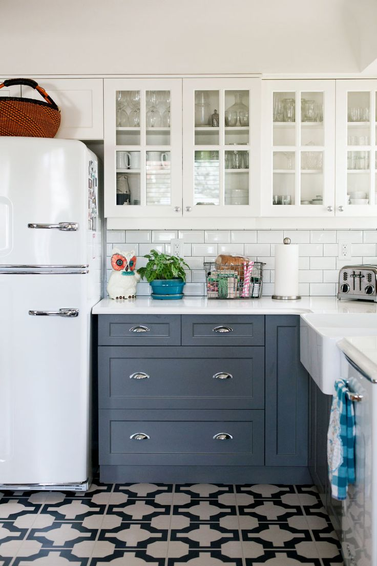 fabulous kitchens and bathroomsmostly using chalk cabinets for kitchen Kitchen with white cabinets gray cabinets patterned tile floor subway tile backslash and