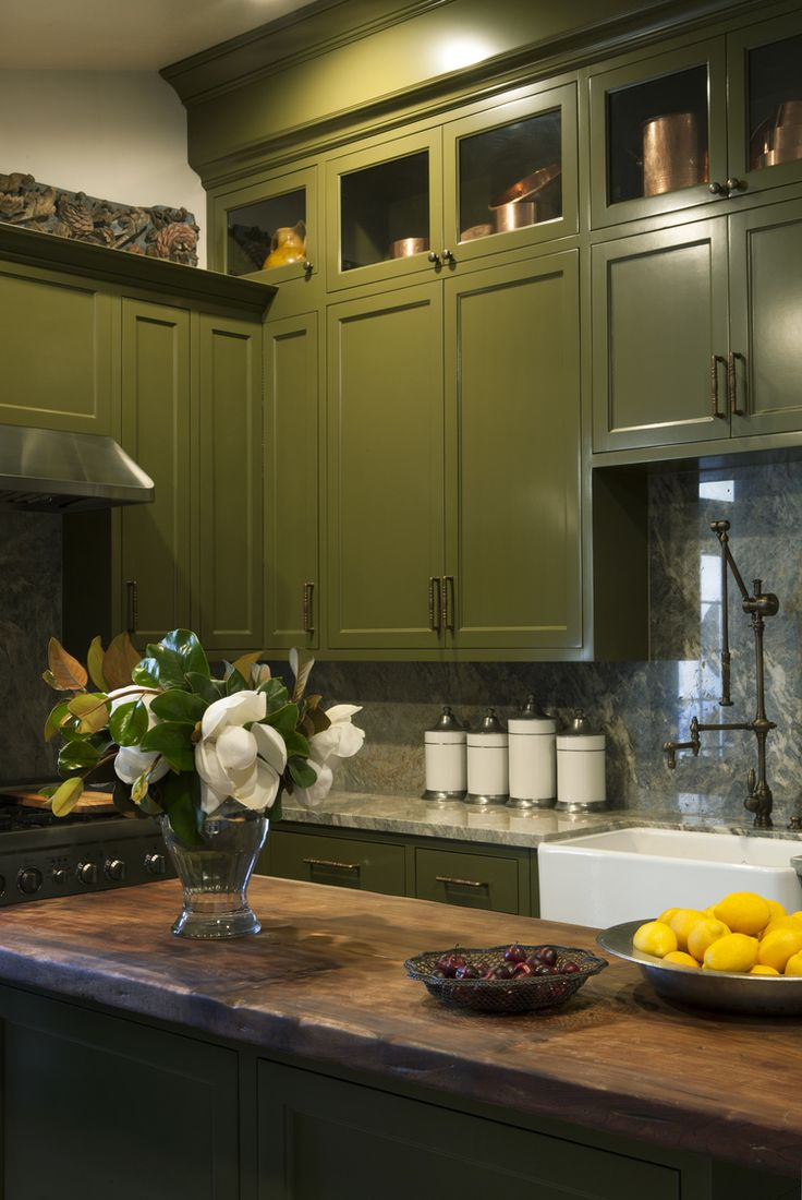 olive green kitchen kitchen cabinets in spanish Windowless kitchen with olive green painted cabinets antique Spanish ash tabletop used for kitchen island