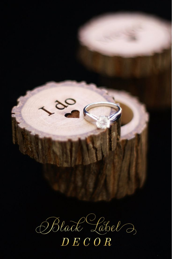 rustic wedding rings wedding ring holder Engraved Hickory Wooden Tree Stump Ring Boxes By Black Label Decor