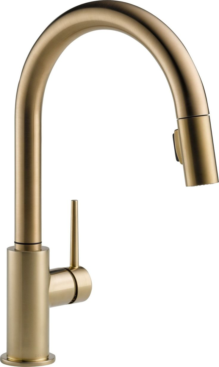 pull out kitchen faucet delta linden kitchen faucet Like the mod brass fixtures Delta Trinsic Single Handle Single Hole Kitchen Faucet