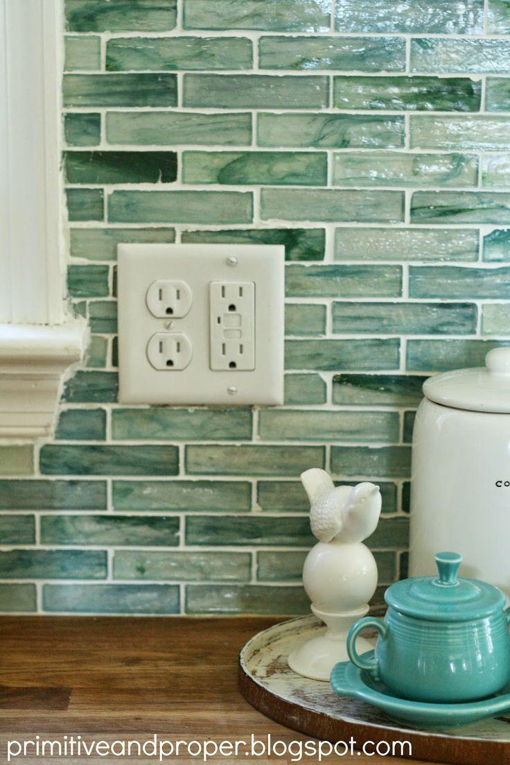 kitchen glass tile backsplash kitchen Primitive Proper DIY Recycled Glass Backsplash with The Tile Shop