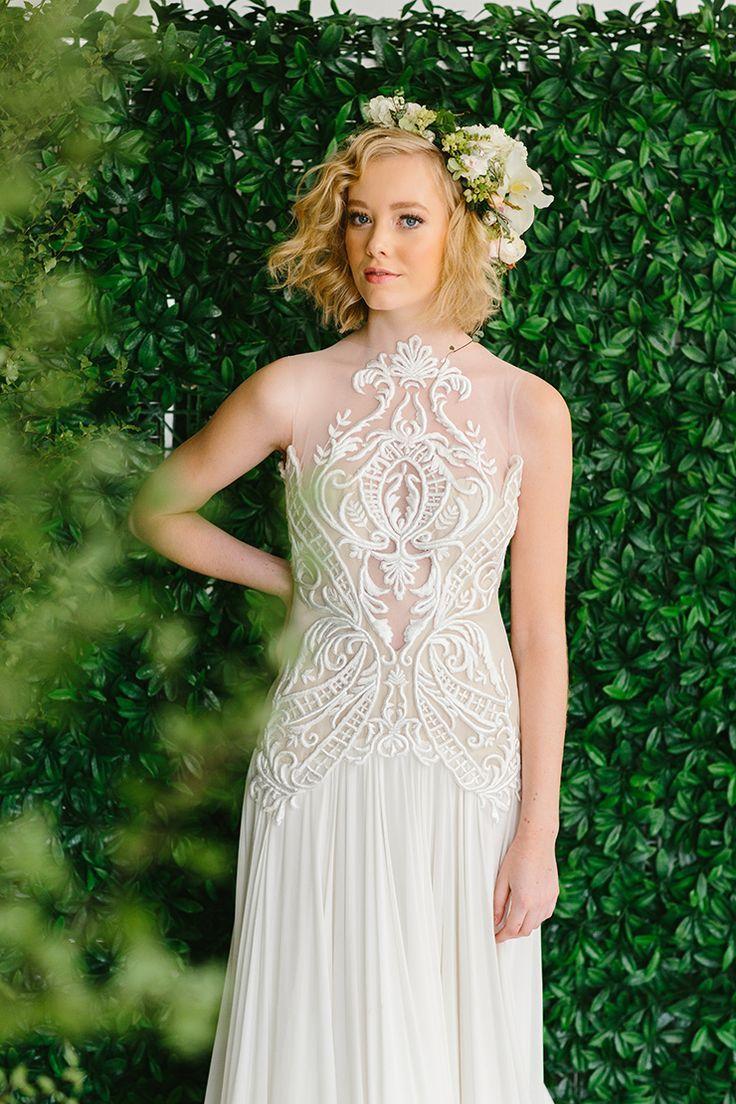 woodland wedding dress woodland wedding dress Whimsical woodland wedding dress with intricate illusion neckline Fifteen Photography