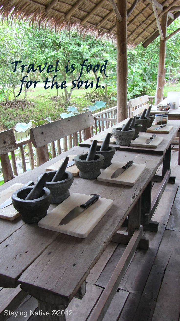 culinary school kitchen table cooking school Travel is food for the soul at Chiang Mai Farm cooking school ChiangMai
