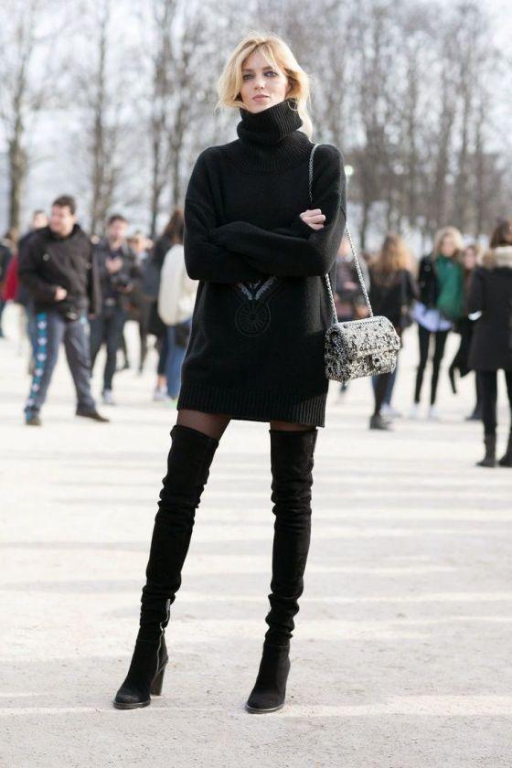 Anja Rubik in over-the-knee boots, in Paris.: