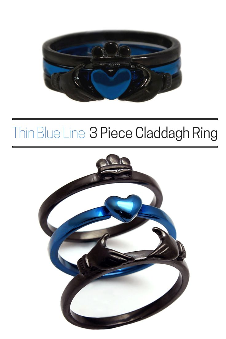police wife ring police wedding rings The most versatile claddagh ring Can be worn all together or in any combination of