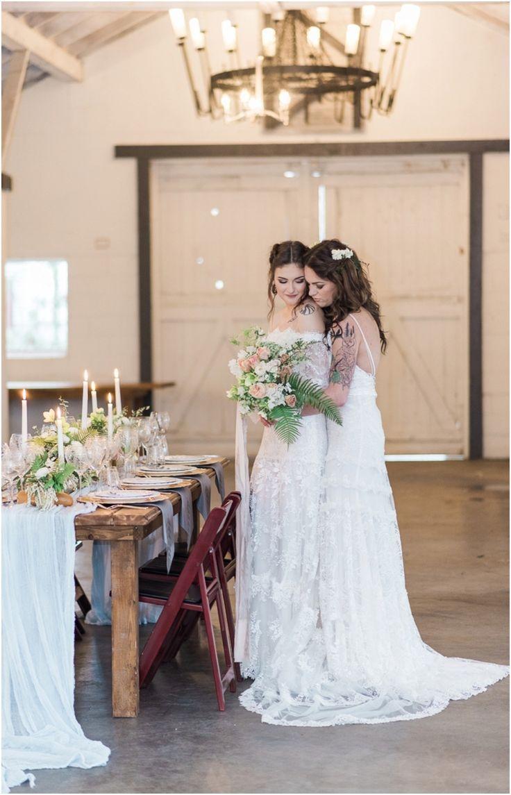 lesbian wedding lesbian wedding ideas Dairyland french rustic lesbian 2 brides wedding Romantic Feminine Calligraphy Ferns