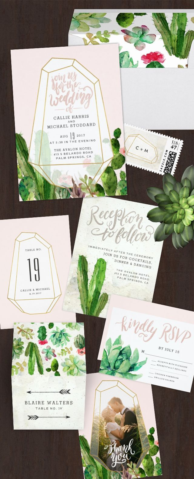 succulent wedding invitations succulent wedding invitations Desert Succulent wedding paper suite perfect for a Palm Springs or desert wedding venue