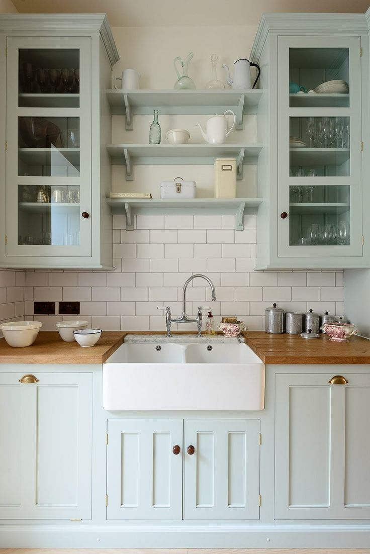 butcher block counters butcher block kitchen countertops Palest blue kitchen cabinets topped with an apron sink and butcher block counters