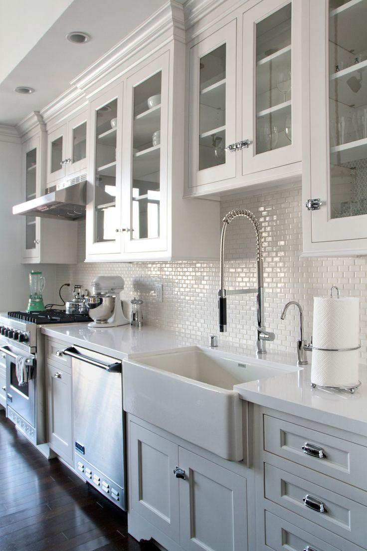 lowes kitchen cabinets white cabinet kitchen white kitchen cabinets dark wood floors Backsplash white mini subway tile farmhouse