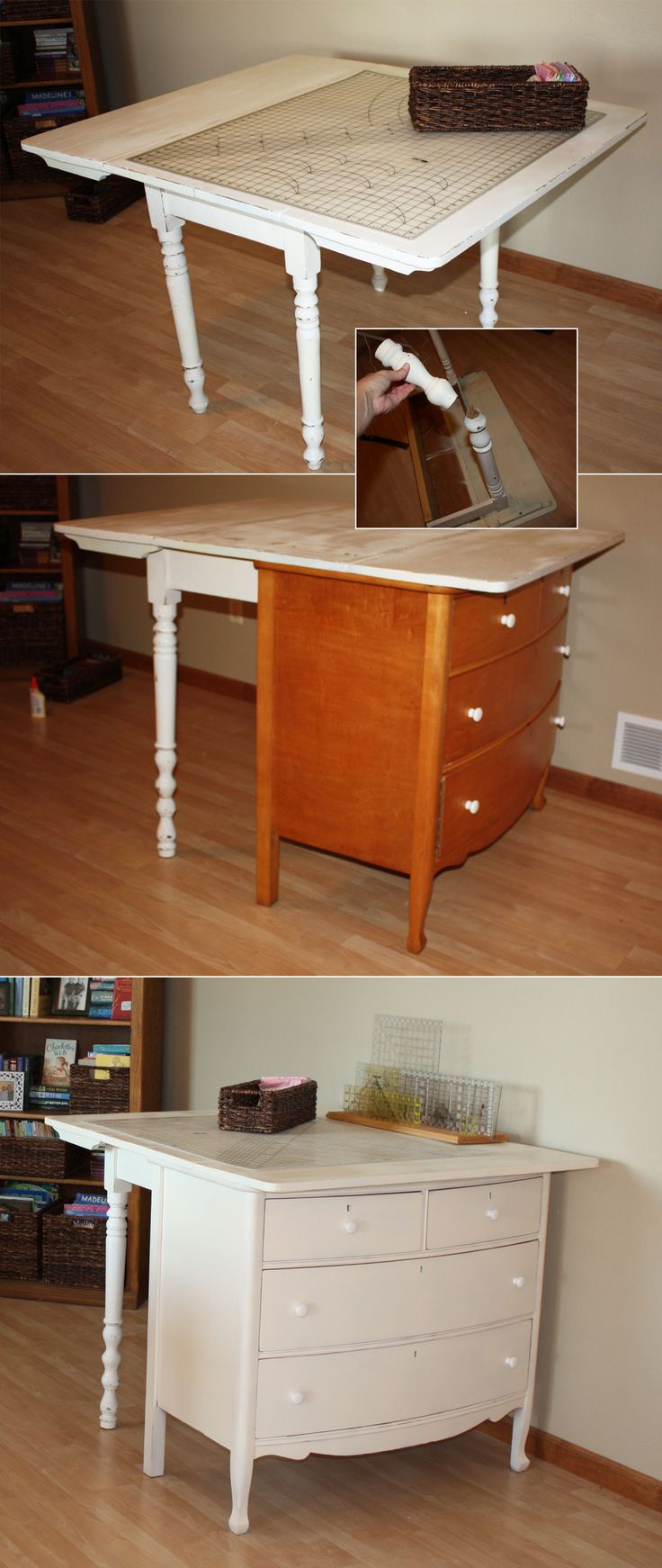 cutting tables kitchen cutting table A vintage drop leaf table was too short to serve as a fabric cutting station