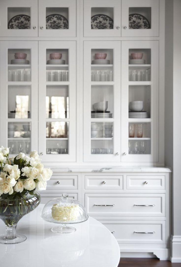 white china cabinets kitchen hutch cabinets Beautiful white kitchen inset cabinets glass doors marke countertops