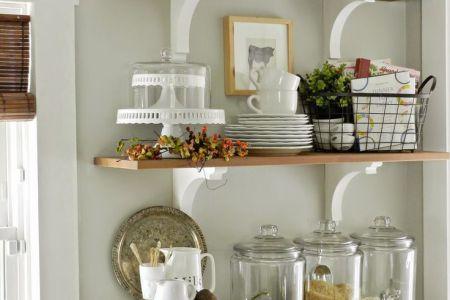 open shelves in the kitchen grey owl by benjamin moore