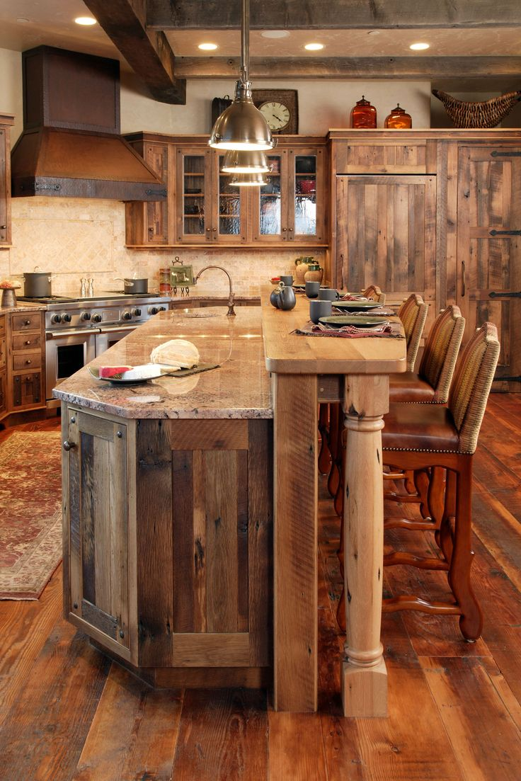 rustic kitchens rustic kitchen ideas This picture is to show how I want to incorporate reclaimed wood into the kitchen island perhaps just end caps or surrounding pullouts etc