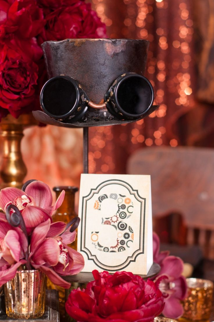 steampunk wedding themes steampunk wedding invitations Steampunk Red and Copper Wedding Inspiration