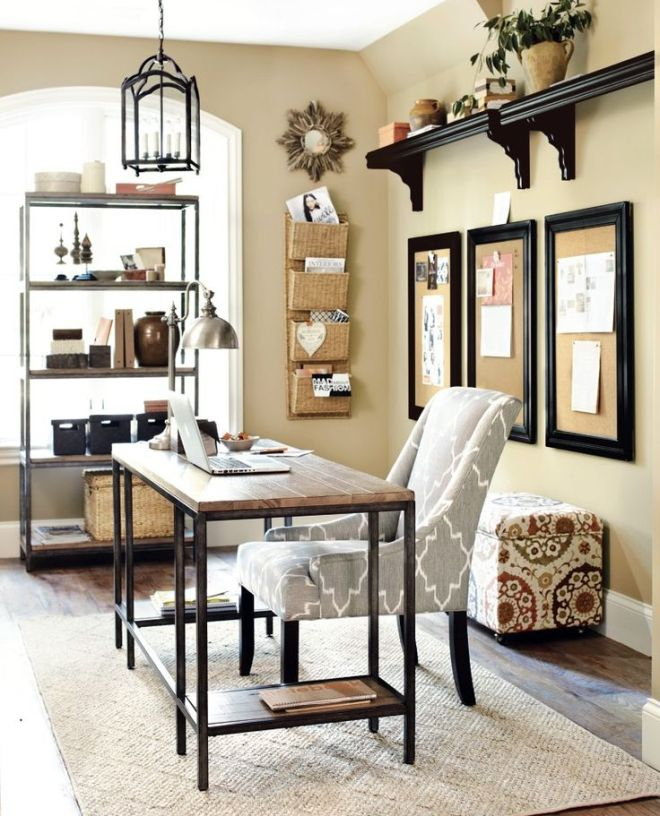 Home office with gray and neutral accents: