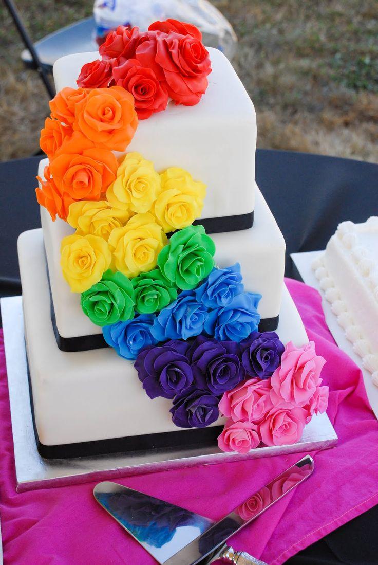 gay wedding cakes lesbian wedding ideas rainbow rose wedding cake