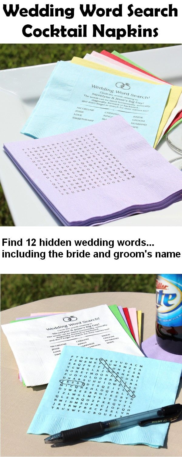 wedding cocktail napkins napkins for wedding Personalized Wedding Word Search Puzzle Cocktail Napkins