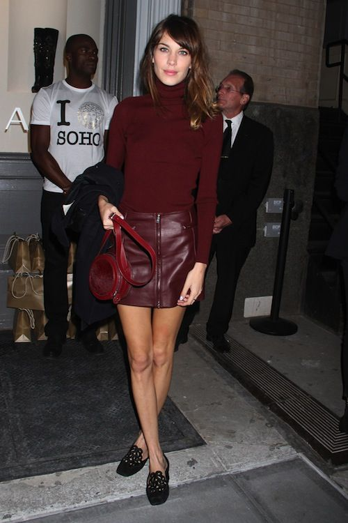 Burgundy! Love this ensemble however I'd wear a pair of heels instead of flats. The flats are cute and make this look appear less dressy and more casual but in my opinion a heel would compliment this look perfectly! :):