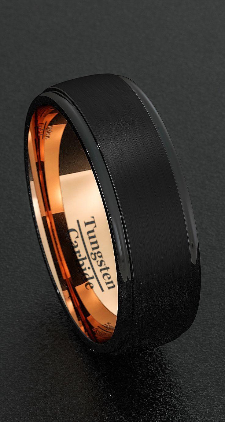 men wedding rings mens black wedding rings Mens Wedding Bands 8mm Tungsten Rings Black Brushed Step Edge Rose Gold Inner Comfort Fit