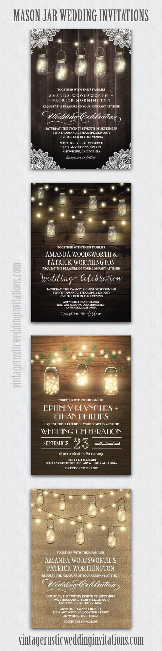 mason jar wedding invitations mason jar wedding invitations Mason jar wedding invitations barn wood burlap string lights and more in rustic