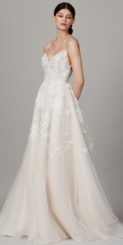 my wedding spaghetti strap wedding dress The Prettiest Spring Wedding Dresses from Bridal Fashion Week Spaghetti Strap