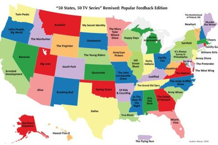 50 states, 50 tv series the most popular television