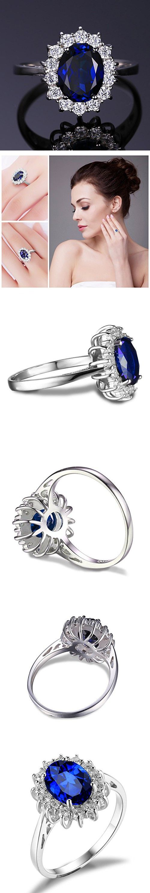 princess diana engagement ring princess kate wedding ring Jewelrypalace Solid Sterling Silver 2 1ct Created Blue Sapphire Kate Middleton s Princess Diana Engagement Ring Size