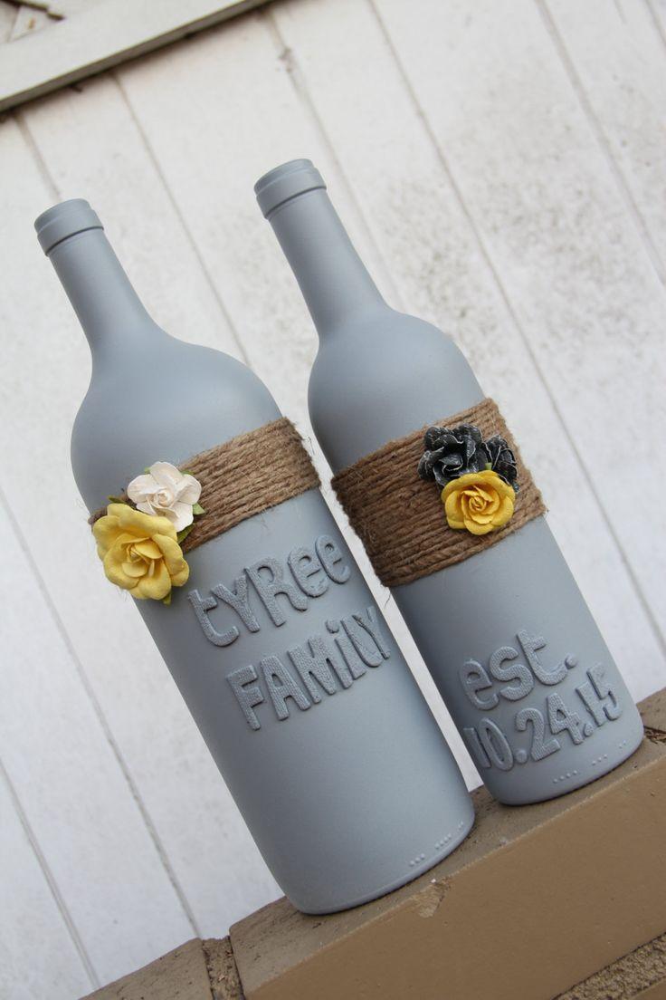 wedding wine bottles wedding gift Custom Wedding Gift Wedding Wine Bottles Yellow and Gray Wedding pinned by pin4etsy