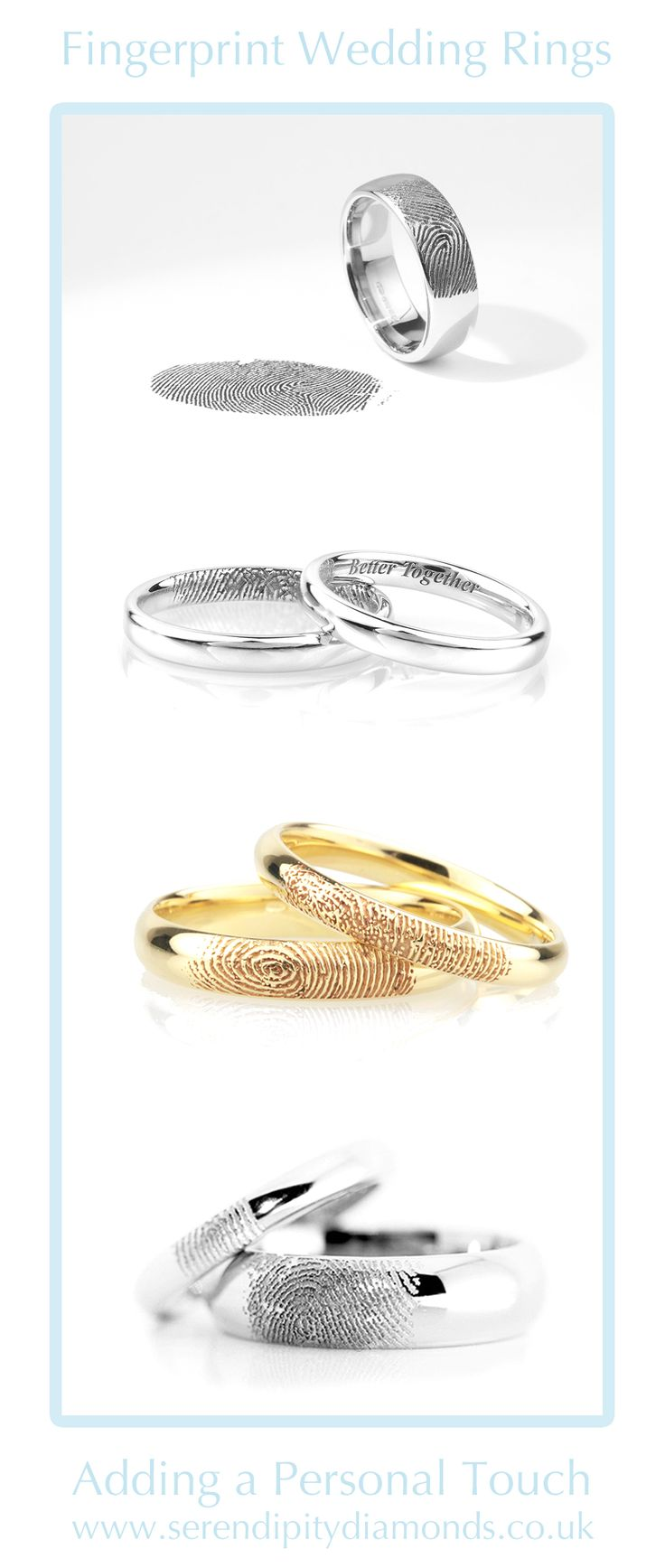 fingerprint wedding bands fingerprint wedding band A compilation of bespoke fingerprint wedding rings created for clients at Serendipity Diamonds Our post