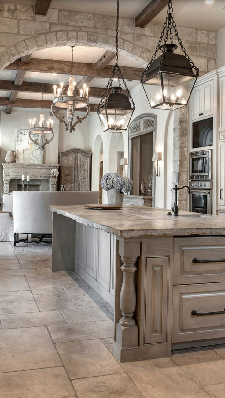 french kitchen decor country kitchen lighting The unfinished edge of this counter distressed grey cabinetry pendant lantern lighting French Country Kitchen