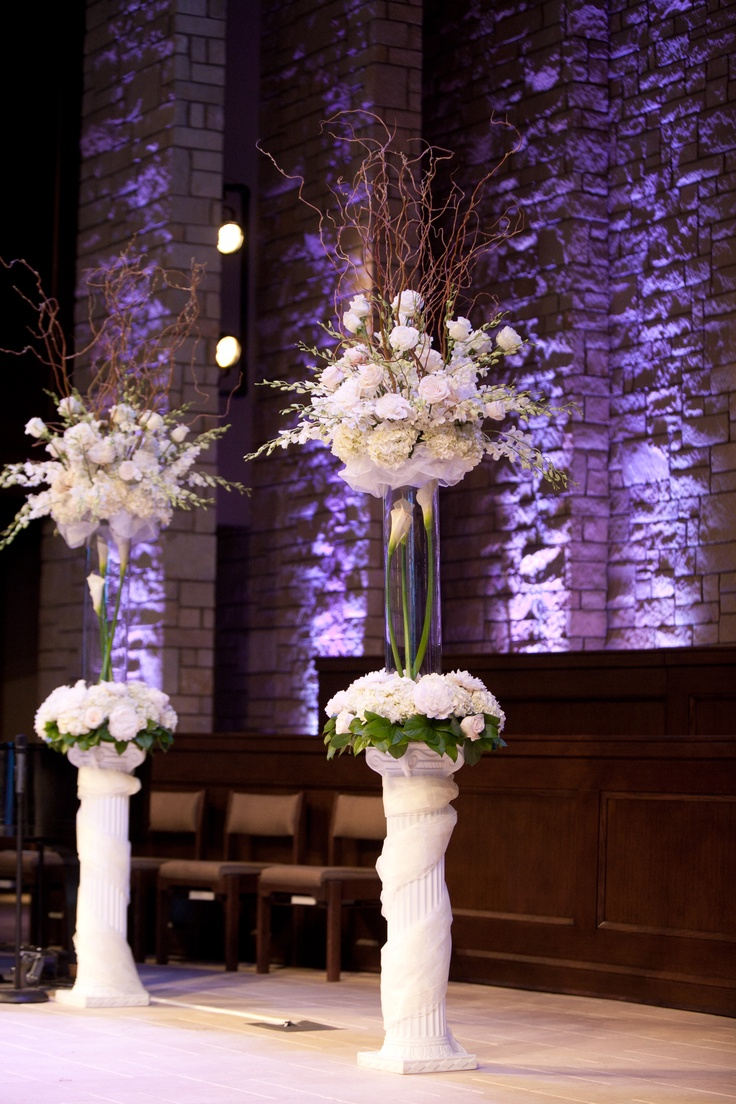 wedding flowers wedding vases Wedding Ceremony Flowers tall vases with beautiful wrapped stands