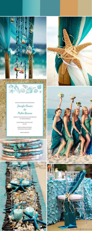 beach themed weddings beach wedding invitations Gorgeous Summer Beach Wedding Color Ideas With Invitations