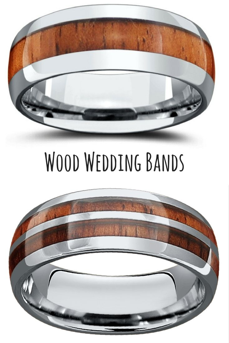 wupples weddings pins outdoorsman wedding band These make such unique wedding rings Crafted out of tungsten carbide and inlaid with genuine koa wood I love these outdoorsmen wedding bands