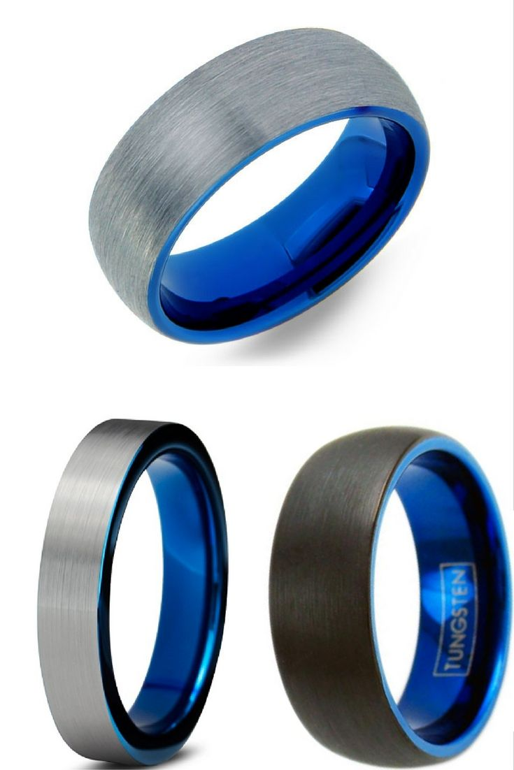 men wedding bands wedding bands for him Mens Blue Brushed Tungsten Wedding Band With Blue Interior I love these mens wedding bands