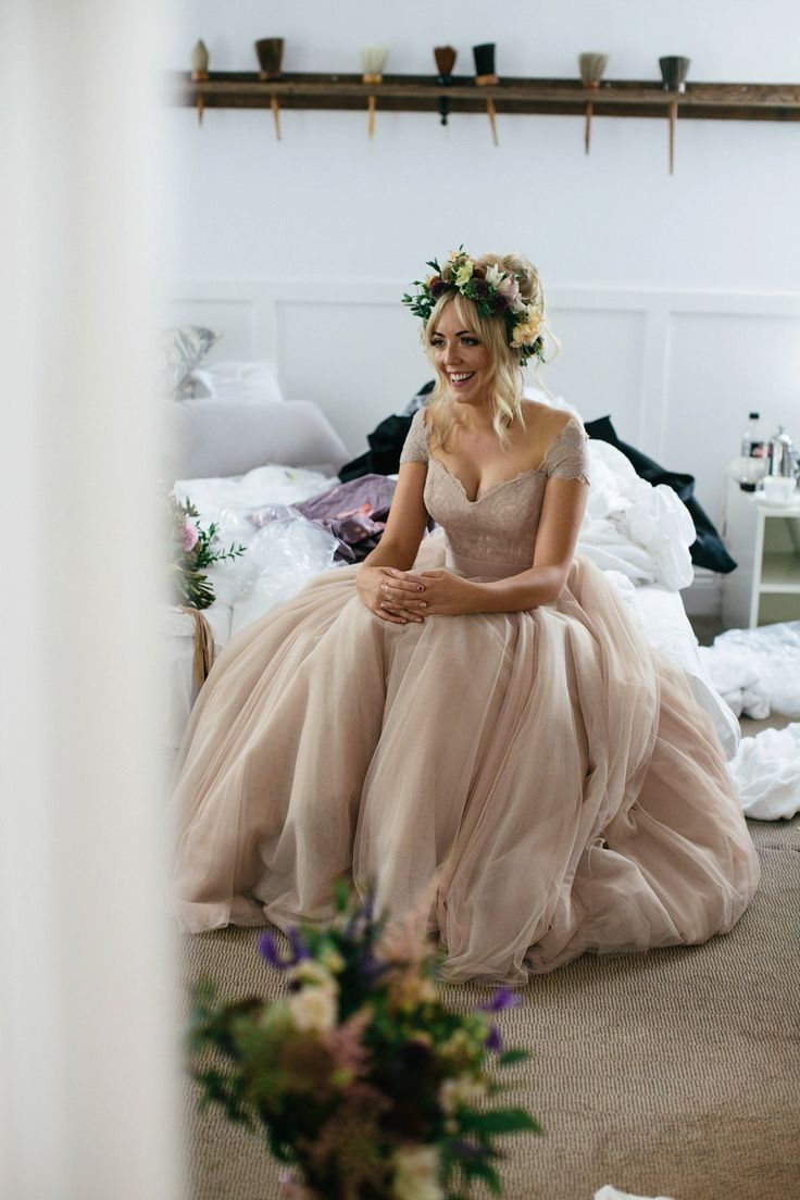 amazing wedding dresses wedding dress 2 piece A Dusky Pink Dress and Floral Crown for a Romantic Rainy Day Wedding