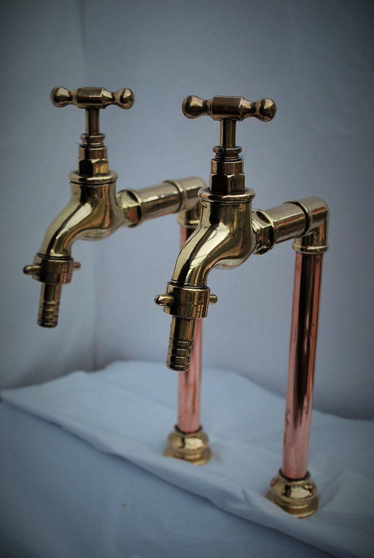 belfast sink vintage kitchen sink Brass copper belfast kitchen sink tall bib taps old reclaimed refurbished