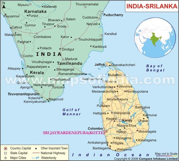 map showing sri lanka