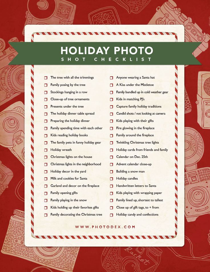 Holiday photo checklist. #photography #holiday #christmas Click here to download the PDF >> http://www.slideshowblog.com/?p=5871:
