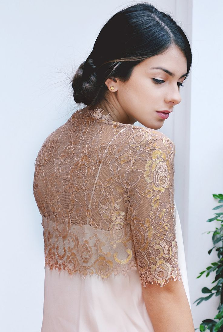 cover ups wedding dress cover Rosalie couture french lace bolero shrug cover up rose gold S M