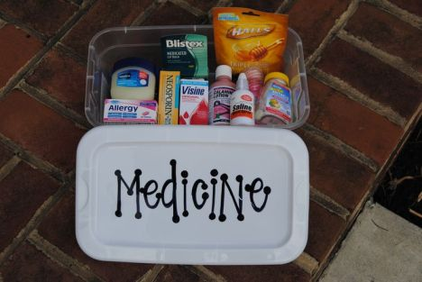 A college care package created for my soon-to-be college bound & poor sister :) It's a medicine box filled with halls cough drops, vaseline, visine, bandaids, advil, alieve, tums, neosporine, pepto, saline drops for the nose, blistex, calamine lotion, and benedryl.