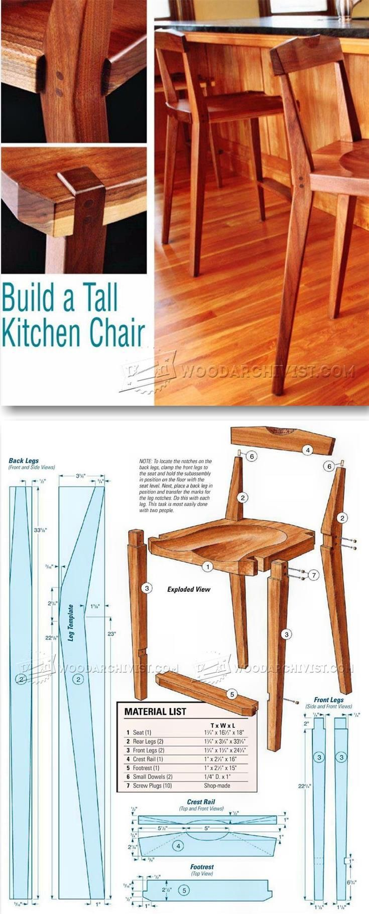 kitchen chairs kitchen wooden chairs Kitchen Chair Plans Furniture Plans and Projects WoodArchivist com