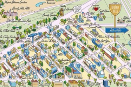 fun map of the beverly hills, california 90210 golden