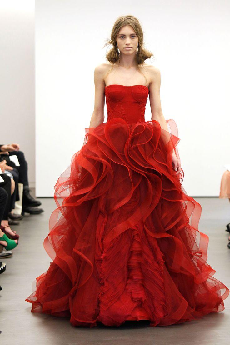 wedding dresses red wedding dresses Incredible red wedding dress from Vera Wang BridesMagazine co uk